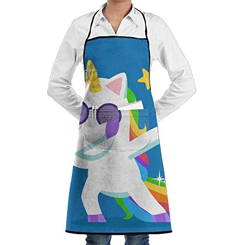 LOGENLIKE Dabbing Unicorn Kitchen Aprons, Adjustable Classic Barbecue Apron Baker Restaurant Black Bib Apron With Pockets For Men And Women