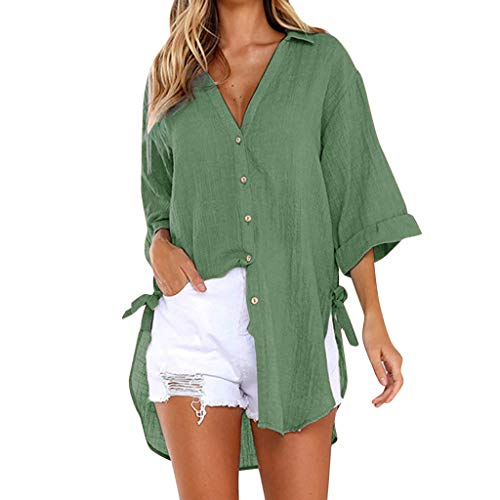 〓COOlCCI〓Women's V Neck Solid Roll up Sleeve Button Down Blouses Tops Long Sleeve High-Low Shirts Beach Cover up Green