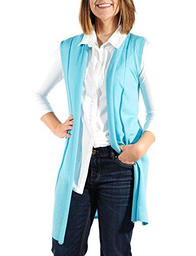 Gigi Reaume 100% Cashmere Women's Long Sweater Vest and Scarf, 2 In 1, Ultra Lightweight Sleeveless Cardigan (Medium, Aqua) (Featherweight Long Cardigan)