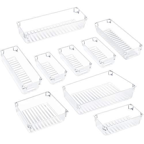 Kootek 9 Pcs Desk Drawer Organizer Trays 4-Size Bathroom Drawer Tray Dividers Plastic Vanity Organizers Storage Bins for Makeup Dresser Kitchen Office