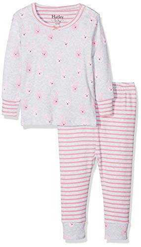 Hatley Baby Girls Organic Cotton Pajama Sets, Funny Bunnies, 6-9 Months