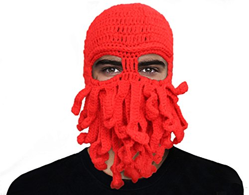 GIANCOMICS Funny Tentacle Octopus Beanie Crochet Knit Beard Hat Fisher Cap Wind Ski Mask Red ()