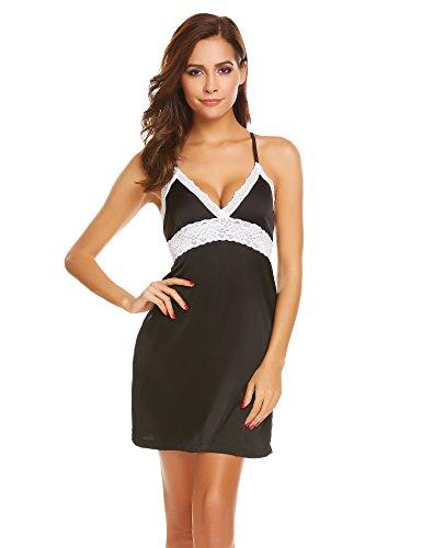 - Ekouaer Womens Sexy Lingerie Babydoll Silky Chemise Satin Sleepwear,Satin-black,Small