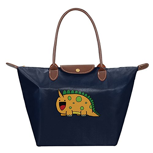 Fashion Casual PrettyLadyHouse Nylon Dumpling Handbag Foldable Travelling Holder Tote Bag Navy
