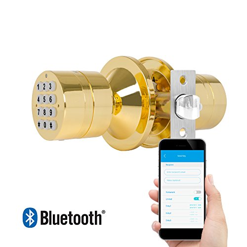 TurboLock TL-99 Bluetooth Smart Lock for Keyless Entry & Live Monitoring – Send & Delete eKeys w/ App on Demand (Polished Brass)