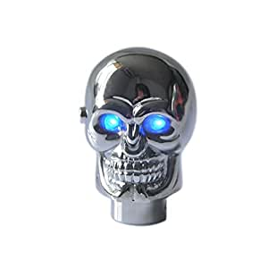Eternalpower Universal Fit Silver Chrome Skull LED Gear Shift Knob Blue Eye Car Truck Automatic Manual Shifter Knobs Lever