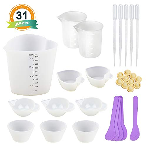 LET'S RESIN Silicone Measuring Cups with 1PCS 500ML Heart Silicone Cups,2PCS 100ML Resin Mixing Cups,8PCS Mini Silicone Mixing Cups, Mixing Spoons,Finger Cots and Pipettes