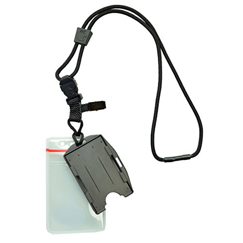 Heavy Duty (No Swing) Nylon Lanyard with Two Dual ID Badge Holders, by Specialist ID and EK USA (Black)