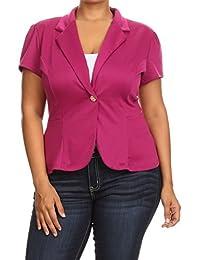 2LUV Plus Women's Plus Size Short Sleeve Blazer With Button Closure