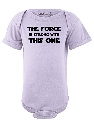 Cute Funny Nerd Geek Humor The Force is Strong With this One Soft Baby Bodysuit Lavender ,18 Months