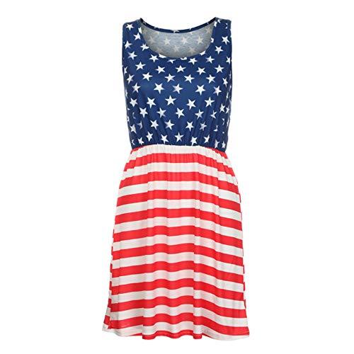 - NedolQ Womens Print American Flag Sexy Sleeveless Mini Dress Racerback Midi Tank Dress USA Flag Sleeveless Floral Print Stars and Stripes (American Flag, M)