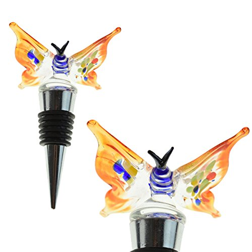 (Glass Butterfly Wine Bottle Stopper - Decorative, Colorful, Unique, Handmade, Eye-Catching Glass Wine Stoppers - Wine Accessories Gift for Host/Hostess - Wine Corker/Sealer)