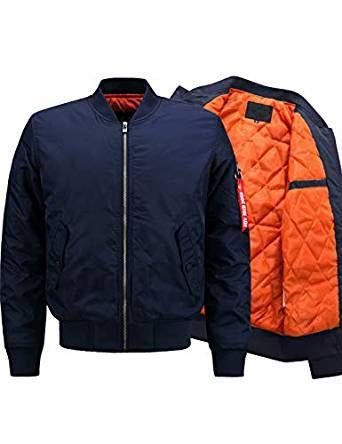 Lentta Men's Casual Winter Warm Thicken Quilted Puffer Short Bomber Jacket (Medium, Y-Dark Blue-Thick)