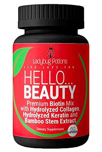 4-in-1 High Potency Biotin for Women | Hair, Skin & Nails + Vitamins - Ladybug Potions- Biotin, Hydrolyzed Collagen, Hydrolyzed Keratin & Bamboo Stem Extract | Natural, Non-GMO | 60 Capsules (1)