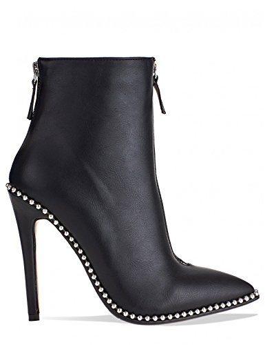 Stiletto Womens in PU LAMODA Black Studded Ankle Detail Heeled Boots tgOZSwvq