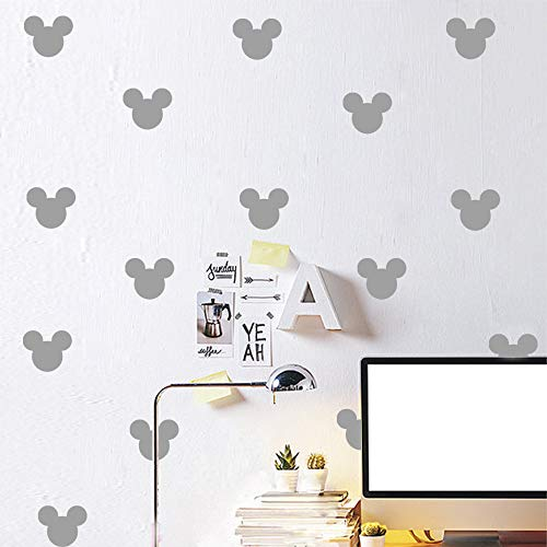 24PCS Cartoon Mickey Mouse Head Wall Sticker Baby Nursery Cute Animal Wall Decal Children Room, Wall Art Easy Removable (Grey, Vinyl PVC Material)