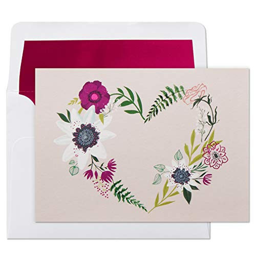 (Hallmark Blank Cards, Floral Wreath Heart (10 Cards with Envelopes))