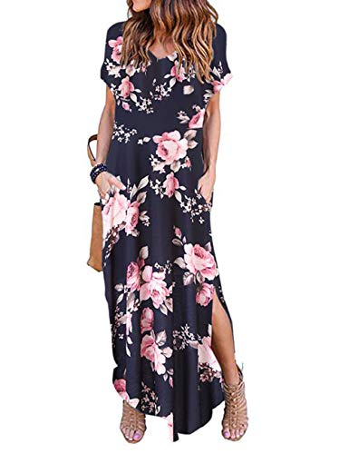 (AKEWEI Plus Size Dresses for Women,Summer V-Neck Short Sleeve Slits Long Dress with Pocket(Blue Peony,S))
