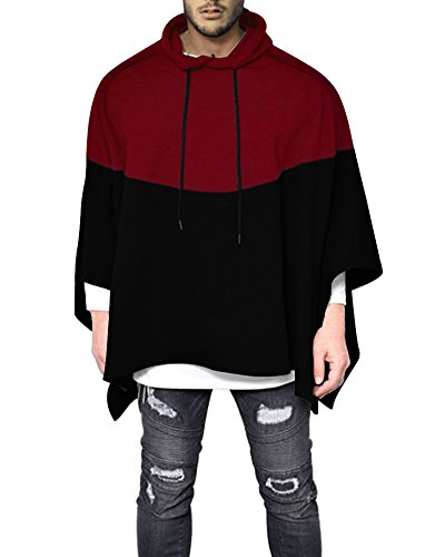Demetory Men's Color Block Oversized Batwing Sleeves Hooded Poncho Cape Red (Sleeve Hooded Poncho)