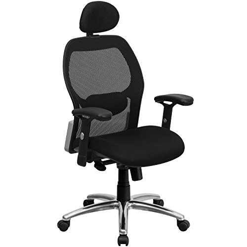 Flash Furniture High Back Black Super Mesh Executive Swivel Chair with Knee Tilt Control and Adjustable Arms - Knee Tilt Executive Chair