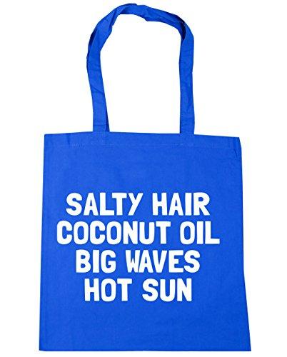 HippoWarehouse salado pelo aceite de coco Big Waves caliente sol Tote Compras Bolsa de playa 42cm x38cm, 10litros Azul Aciano