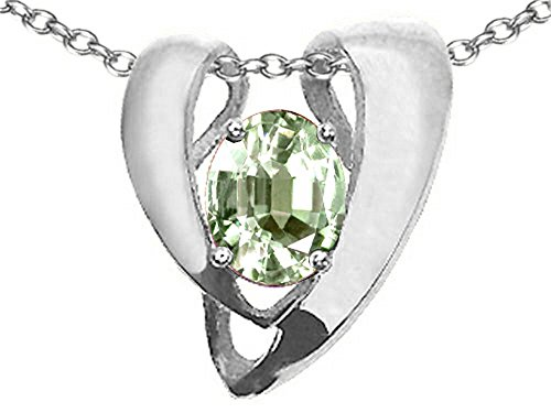 Green Quartz Enhancer (Tommaso Design Oval 9x7mm Green Amethyst Heart Shaped Pendant Necklace Enhancer 14 kt White Gold)
