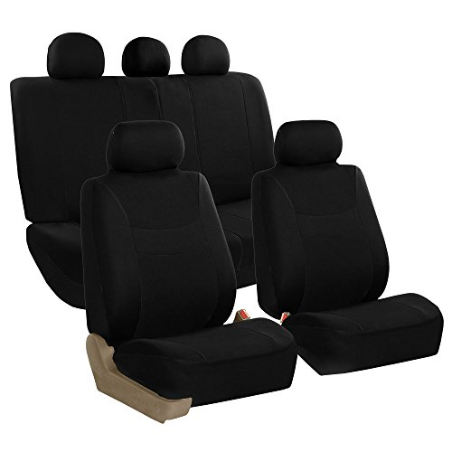 (FH Group FB030BLACK115 Full Set Seat Cover (Side Airbag Compatible with Split Bench Black))
