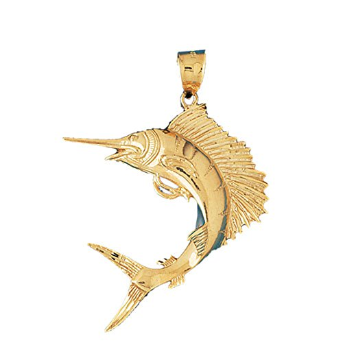 14K Yellow Gold Sailfish Pendant - 62 mm by JewelsObsession