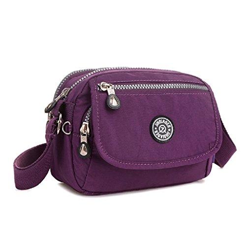 TianHengYi Mini Water Resistant Cross-body Bag Lightweight Nylon Travel Messenger Bag for Girls - Cross Body Bag Purple