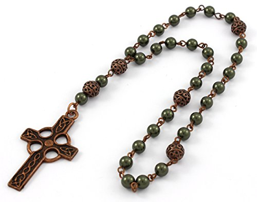 Anglican Prayer Beads with Dark Green Swarovski Pearls and Celtic Cross in Antique Copper. Anglican Rosary, Pearl Prayer Beads, Custom Rosary (Anglican Rosary Beads)