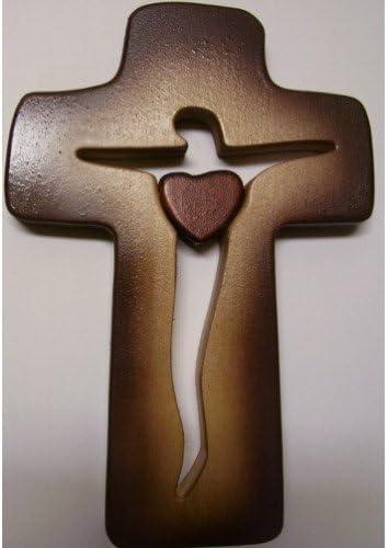 Drevotoys Crocifisso da parete con un cuore centrale