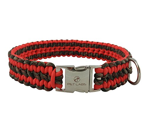 Pet Labs Paracord Dog Collar Orange-Red and Army Green Camo with Buckle (20.07in / 51cm)