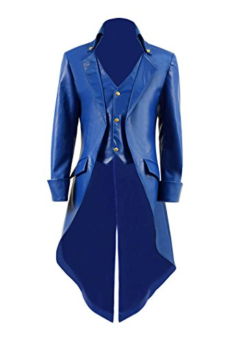 Very Last Shop Mens Gothic Tailcoat Jacket Black Steampunk Victorian Long Coat Halloween Costume (US Men-M, Blue(Faux-Leather))]()