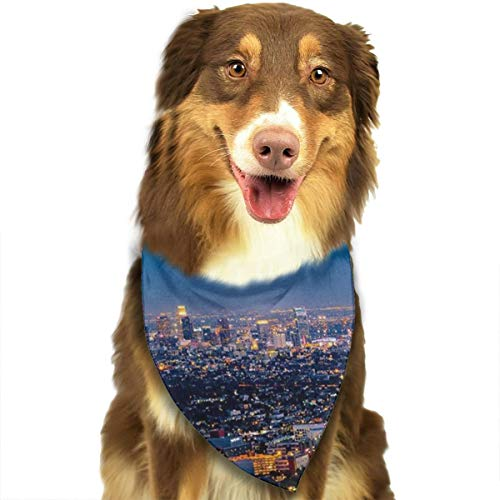 Novel Colorful Los Angeles Skyline Cityscape Night View Pet Bandana Washable Reversible Triangle Bibs Scarf