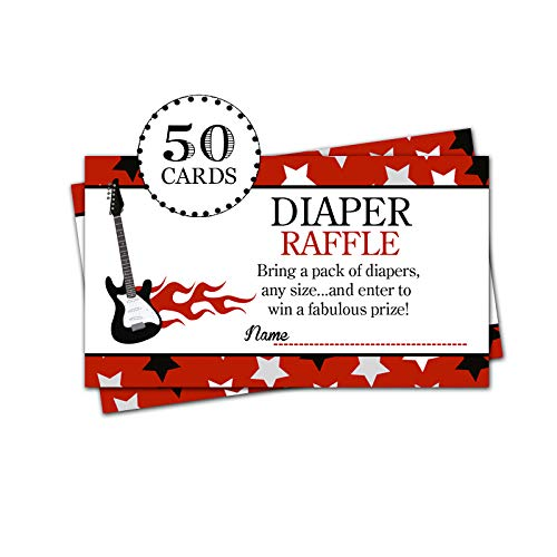 50 Rock Star Guitar Diaper Raffle Ticket Lottery Cards for Boy Baby Shower