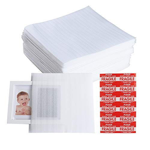 """50 Pack 12""""x 12"""" Foam Wrap Cushion Pouches (1.5mm Thickness), Extra 5 Pack Fragile Stickers Labels(60pcs) - Protect Dishes, Glasses, Porcelain & Fragile Items, for Moving, Packing by ZMYBCPACK"""