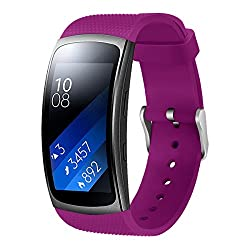 "Aresh Compatible Samsung Gear Fit 2 Bandgear Fit 2 Pro Band, Replacement Bands Accessories Compatible Samsung Gear Fit2 Pro Sm-r365 Gear Fit2 Sm-r360 Smartwatch (5.9""-7.5"") (Purple)"