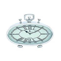 Benzara 27860 Nickel Plated Table Clock with Roman Numerals