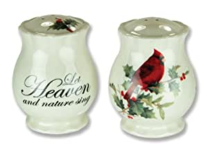 Christmas Holiday Salt and Pepper Shakers With Cardinal Design Ceramic 3.5 Inch