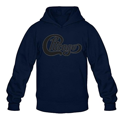Men's Chicago Band High Res Logo Pullover Hoodie Sweatshirt Large Royal Blue