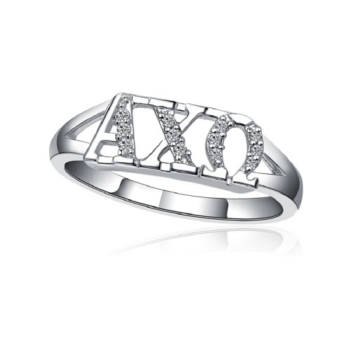Greek Star Alpha Chi Omega Horizontal Silver Ring