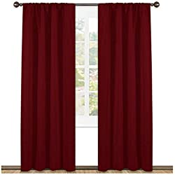NICETOWN Burgundy Curtains Blackout Drapes - Home Decorations Thermal Insulated Solid Blackout Living Room Curtains/Draperies for Basement(One Set,42 x 84-Inch,Red)