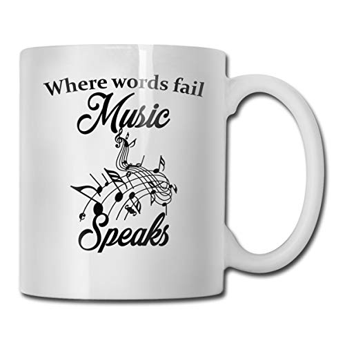 Riokk Az When Words Fail Music Speaks 11oz Coffee Mug Funny Cup Tea Cup Birthday -