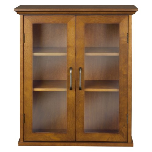 - Elegant Home Fashion Anna Wall Cabinet with 2-Door, Oil Oak