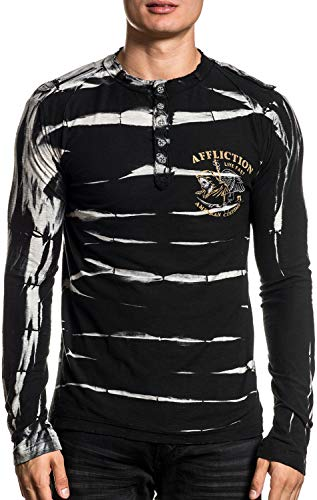 Affliction AC Reaper Training Long Sleeve Graphic Fashion MMA Henley T-shirt For Men (X-Large)