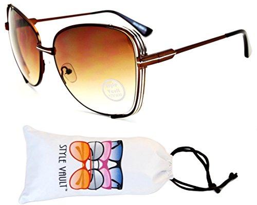 WM506-vp Butterfly Cateye Oversized Polygon Sunglasses (L2809E Bronze/Silver-Brown Smoked, - Sun 70s Glasses