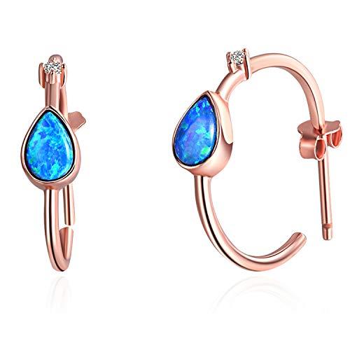EVBEA Silver Hoop Earrings Statement Hypoallergenic Rose Gold Blue Teardrop Opal Earrings for Women