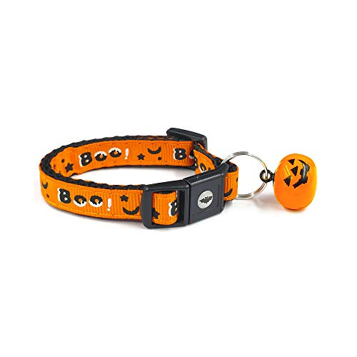 (waaag Pet Collars Halloween Multiple Designs, Boo Pet Collars for Cats, Adjustable Breakaway Cat Collar with Pumpkin Bell, Small Cat/Kitten Size (Boo,)