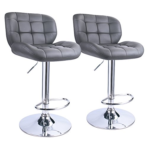 Leopard Deluxe Pitstop Adjustable bar stools,Set of 2 (Grey) Deluxe Seat Bar Stool