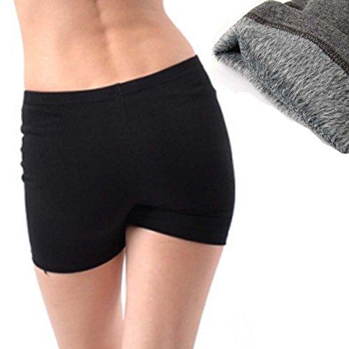 queenneeup 3 Pack Thermal Underwear Faux Fur Lined Slip Short Hip Warmer (3 Pack Black)